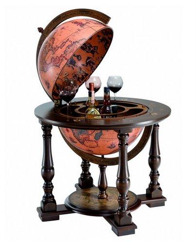 Topnotch Duży drewniany globu barek na alkohol 50 cm GL85