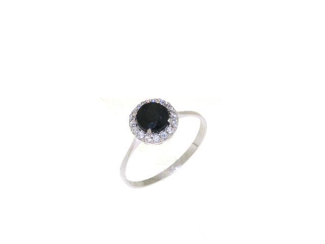 Modernistyczne Złoty pierścionek z czarnym oczkiem PQ31