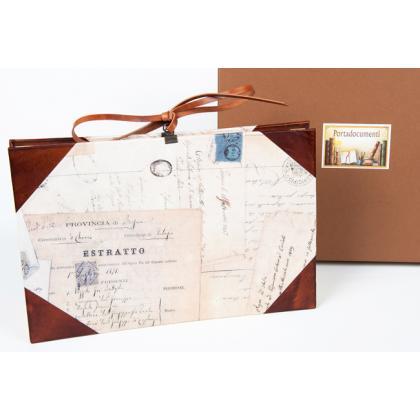 2c23d0b63fc37 Luksusowa teczka aktówka na dokumenty Portadocumenti grande pelle e carta